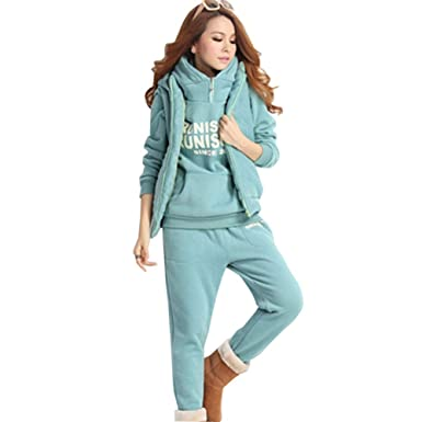 6040aaff86d June Women s 3 Pieces Outfits Hooded Sweatsuit Set Tracksuits Plus Size (US  16-18