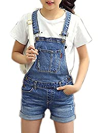 542cb5f87d57 Girls Little Big Kids Distressed BF Jeans Cotton Suspender Denim Bib  Overalls 1P