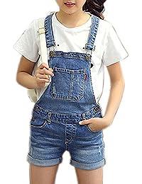 a8b90587202 Girls Little Big Kids Distressed BF Jeans Cotton Denim Bib Overalls Summer  Shortalls 1P