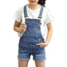 c175ab8c9c47 Girls Little Big Kids Distressed BF Jeans Cotton Suspender Denim Bib  Overalls 1P