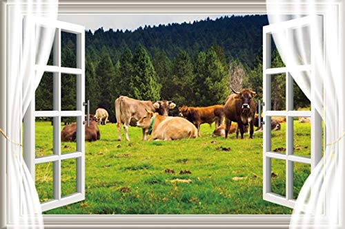 Yeele 7x5ft Vinyl Photography Background Spring Landscape Cattle Lawn Grassland Forest Mountain Range White Window Curtain Pasture Grazing Photo Backdrops Pictures Studio Props ()