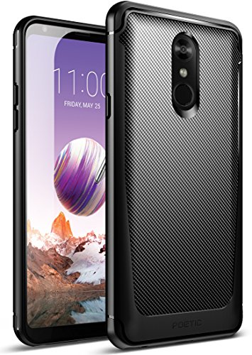 Black Rubberized Case Shield Protector (LG Stylo 4 Case, LG Stylo 4 Plus Case, Poetic Karbon Shield [Shock Absorbing][Carbon Fiber Texture] Slim Fit Fixable TPU Case for LG Stylo 4 Plus/LG Stylo 4 (2018) - Black)