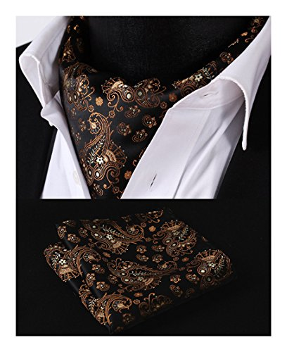 Jacquard HISDERN Orange Floral Ascot Black Woven Men's Set PxxgwvqEF