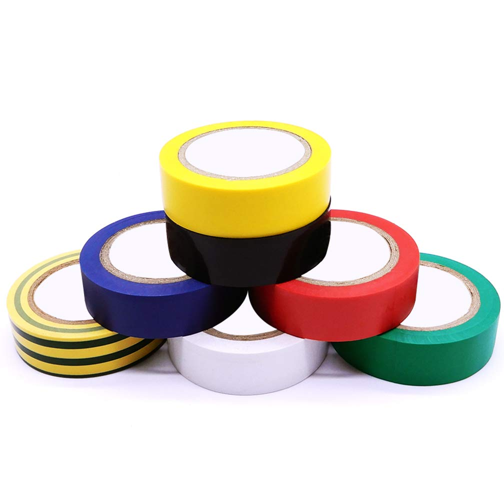 Maveek Multicolor PVC Vinyl Professional Grade UL Listed Adhesive Electrical Tape Dimensions: 0.7in x 30ft 17mm x 9m 7 Rolls Insulation Tapes