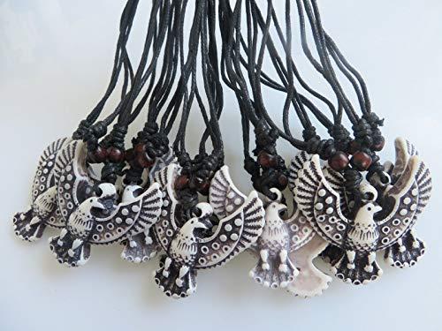 - Wholesale Lot 12 x Faux Yak Bone Resin Carving White Eagle Bird Pendant Necklace