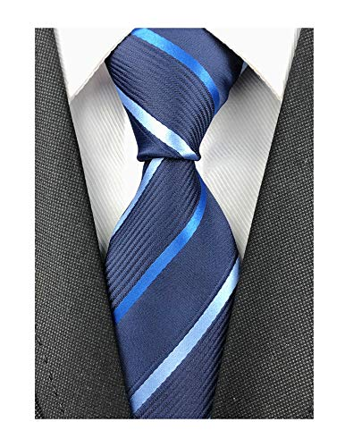 Mens Navy Blue Red Silk Tie Stripe Working Necktie Extra Long Tie for Big and Tall Men
