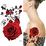 Supperb Temporary Tattoos - Red Roses (8 x 4 inches)