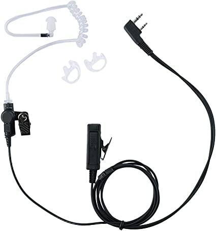 Commerical Earmold with 2-Wire Clear Coil Earbud for Baofeng UV-5R  UV-5RE