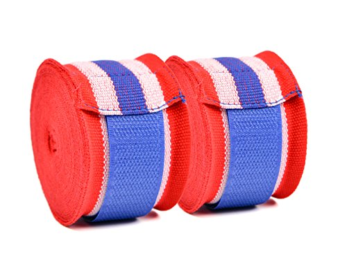 Semi-Elastic Boxing Hand Wraps for Boxing, Muay Thai Taekwondo and Martial Art, 180 Inch Red, White and Blue (Pair) ()