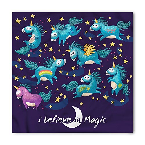 Lunarable Unisex Bandana, Unicorn Winged Miracle Creatures, Teal Blue (Unicorns Winged)