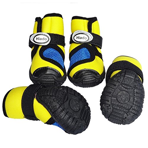Hiado Non Slip Dog Shoes Boots with Velcro Mesh and Rubber Sole for Small Dogs Hiking Running, Thorn protection, Heat and Cold Weather Yellow 55# (Weather Boots Dog)