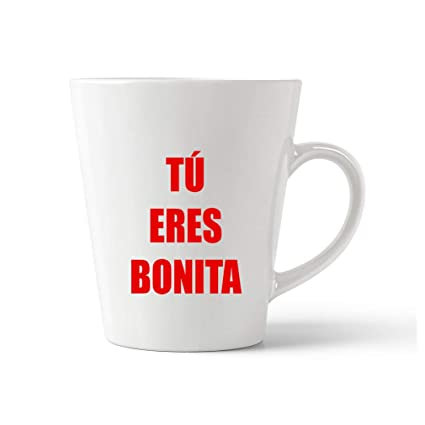 Amazon com: Style In Print Red Tu Eres Bonita Ceramic Latte