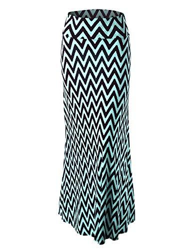 LL Womens Chevron Print Maxi Skirt XXXL CHEV_Aqua ()