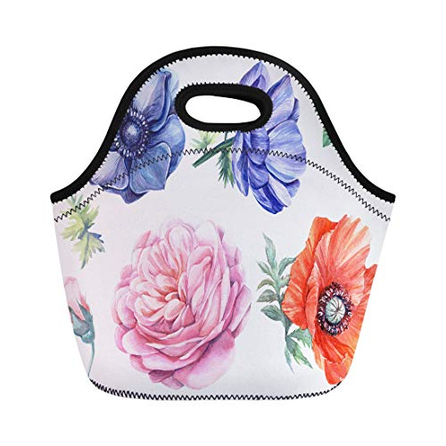 - Semtomn Neoprene Lunch Tote Bag Colorful Flowers Blue Anemones Rose Leaves Red Poppy Watercolor Reusable Cooler Bags Insulated Thermal Picnic Handbag for Travel,School,Outdoors,Work