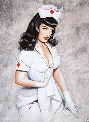 Private Nurse Vintage Pin Up Model Reproduction Rolled Canvas Art Print 24x32 In