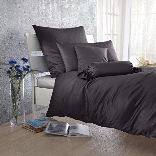 Bettwaren-Shop Uni Mako-Satin Bettwäsche anthrazit Kissenbezug einzeln 40x80 cm