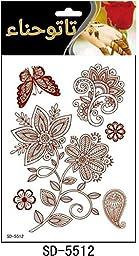 Adecco LLC 6PC Fashion Flash Waterproof Tattoo Women Red Ink Henna Jewel Sexy Lace Flower Pendant Wed Henna Temporary Tattoo Stick (1)