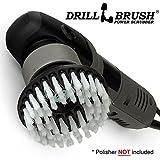 Polisher - Scrub Brush - Carpet Cleaner - Rug - DA - Buffer Polisher - Soft White Bristles with Threaded Shaft - fits - Dual Action - Rotary - Positive Drive Polishers - Glass Cleaner - Carpet Brush