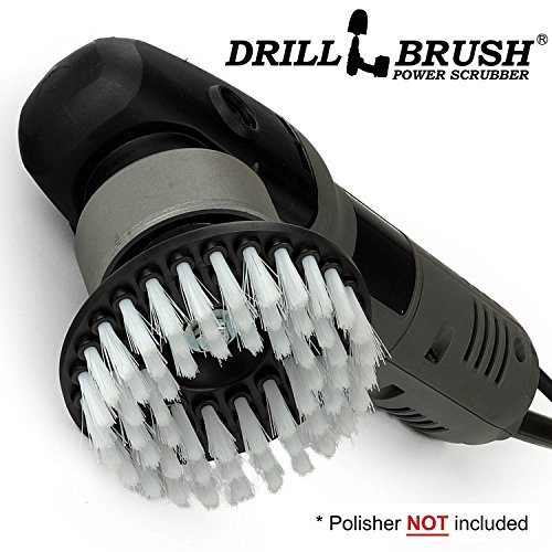 White Soft Threaded 5 inch Scrub Brush fits Electric and Air Pneumatic Dual Action Rotary Polishers and DA (Rotary Floor Cleaner)