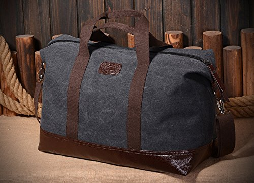 Gran capacidad bolso para los hombres Lona bolsa de hombro Modo viaje bolsa Cuerpo Cruz bolso-Verde Negro