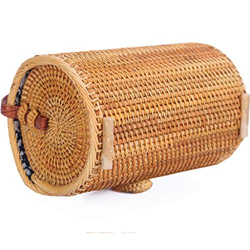 Women's Bag, Rattan Bag - Cylindrical - Slung - Beach Bag - Flower Lining - Retro Travel Bag by BHM (Image #4)