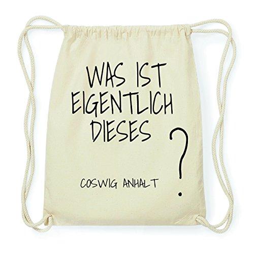JOllify COSWIG ANHALT Hipster Turnbeutel Tasche Rucksack aus Baumwolle - Farbe: natur Design: Was ist eigentlich xh2SB