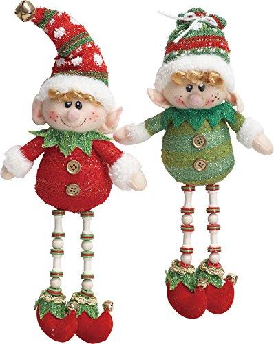 Santas Elves Set of Two 12-inch Plush Hanging Christmas Ornament -
