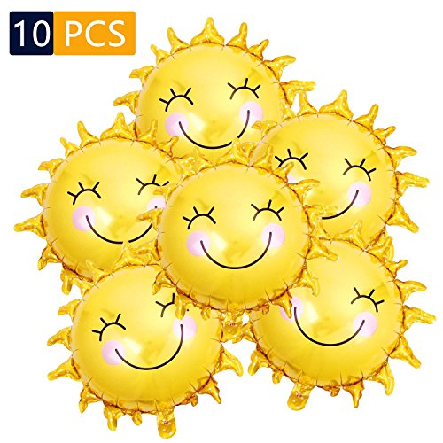 25 Inch Sunshine Mylar Balloon, 10 Pack Yellow Smile Face Sun Balloons Helium Balloon for Happy Sunny Day Decor, Summer Party Decorations Wedding Theme Birthday Party Supplies]()
