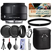 Sigma 30mm F2.8 DN Black Lens for Sony E-Mount NEX (33B965) includes UV Ultraviolet Filter + Deluxe Cleaning Kit + Air Dust Blower + Cap Keeper Prints