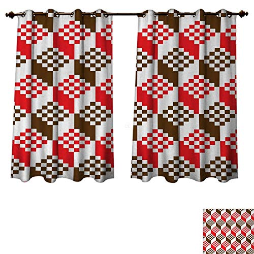 Anzhouqux Abstract Bedroom Thermal Blackout Curtains Vintage Dimension Background Geometric Squares Artful Digital Design Blackout Draperies for Bedroom Chocolate Scarlet White W55 x L39 inch ()