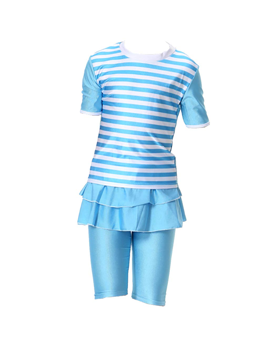 iDrawl Girls Kids Modern Two Piece Short Sleeves Swimsuit Muslim Striped Printed Swimming Costume Bathing Suit for Age 4 to 12
