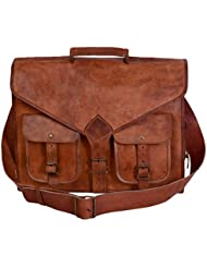 universal leather 18 inch leather laptop messenger bag briefcase satchel