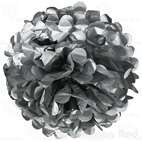 10 Inch Tissue Paper Flower Pom Poms, Pack of 10, Silver