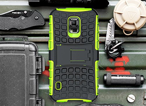 Cocomii Grenade Armor Galaxy S5 Active Case New [Heavy Duty] Premium Tactical Grip Kickstand Shockproof Bumper [Military Defender] Full Body Rugged Cover for Samsung Galaxy S5 Active (G.Green)