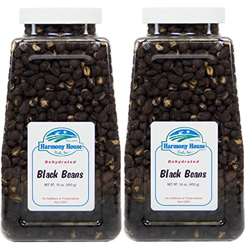 Harmony House Foods, Dried Black Beans (16 Ounce Quart Size Jar) - Set of 2 by Harmony House Foods