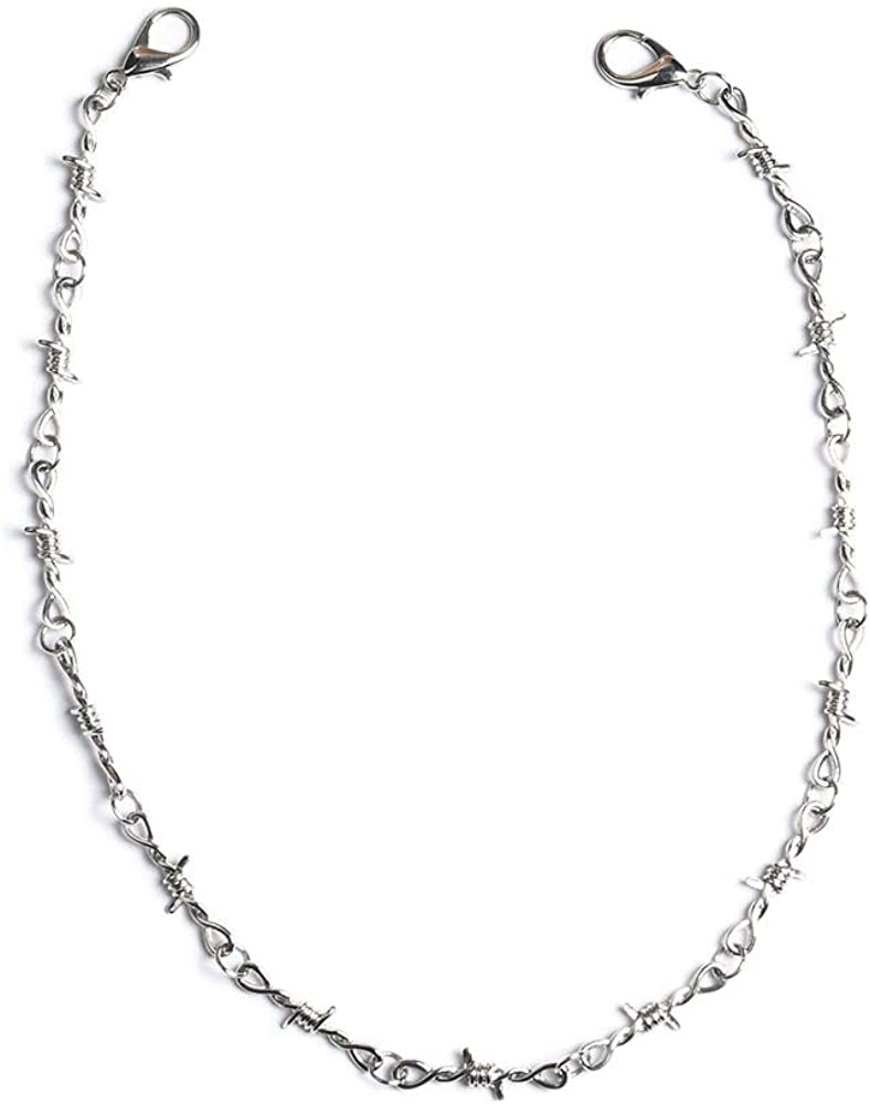 KESOCORAY Punk Gothic Thorns Stainless Steel Barbed Wire Chain Necklace Bracelet Silver Thick Jewelry for Men Women
