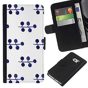 All Phone Most Case / Oferta Especial Cáscara Funda de cuero Monedero Cubierta de proteccion Caso / Wallet Case for Samsung Galaxy S6 EDGE // Pattern Blueberry White Minimalist