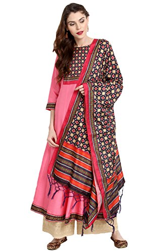 Janasya Indian Tunic Tops Poly Silk Kurti with Dupatta for Women (JNE2221-KR-478-DUPATTA-A-L) Pink