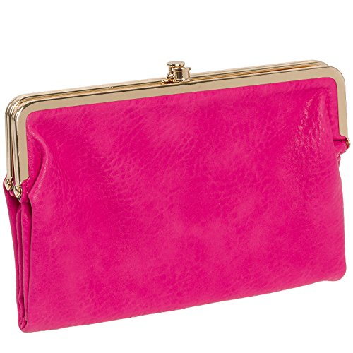 urban expressions womens vegan leather sandra clutch wallet hot pink - Double Frame Clutch Wallet