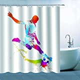 Sport Soccer Shower Curtain Decor Football Player Playing With Soccer World Cup Colorful Watercolor White Background, 70 x 70 Inches Polyester Fabric Waterproof Mildew Resistant With 12pcs Hooks