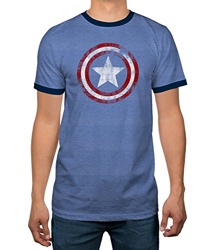 July Ringer T-shirt - Captain America Star Shield Mens Ringer T-Shirt (Medium) Blue