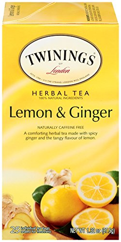 Twinings of London Lemon & Ginger Herbal Tea Bags, 25 Count (Pack of 6) ()