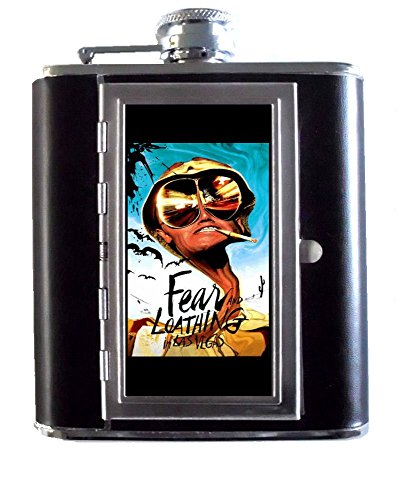 Hunter S. Thompson Fear and Loathing in Las Vegas Gonzo Blue Background 5oz Stainless Steel & Leather Hip Flask with Built-In Cigarette Case ()