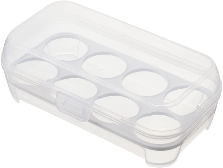 OUNONA Eggs Box Refrigerator Egg Holder Shockproof Egg Storage Container Tray case Portable Eggs Carrier for 8 Eggs Camping Picnic (White)
