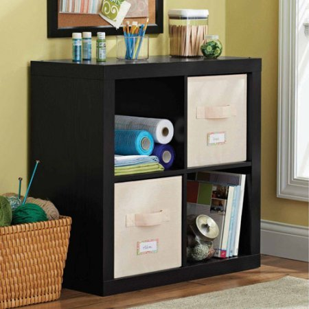 Versatile 4-Cube Storage Case for Organization and Display, Made of MDF and Laminated Particleboard, (Storage Bins and Other Extras NOT Included, Solid Black + Expert Home Guide by Love US