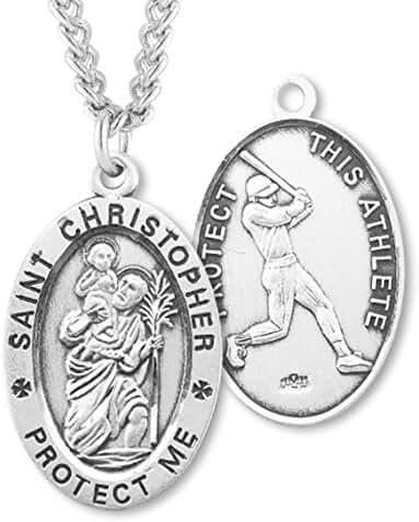 Heartland Men's Sterling Silver Oval Saint Christopher Baseball Medal