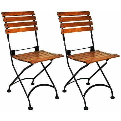 Mobel Designhaus French Caf Bistro Folding Side Chair Jet Black Frame European Chestnut Wood Slats With Walnut Stain Pack Of 2