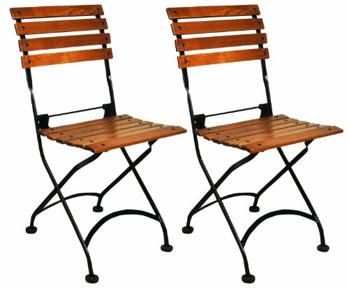 Mobel Designhaus French Café Bistro Folding Side Chair, Jet Black Frame, European Chestnut Wood Slats with Walnut Stain (Pack of 2) ()