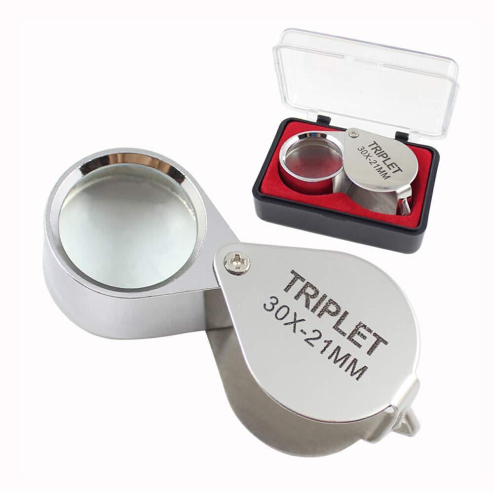 30X Portatile Mini Pieghevole Metallo Palmare Argento Lente Di Ingrandimento Gioielli Diamante Circuito Jade Identificazione Microscopio