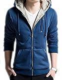 Mens Novelty Hoodies Cosplay Costume Sweatshirts with Faux Fur Hood L Blue